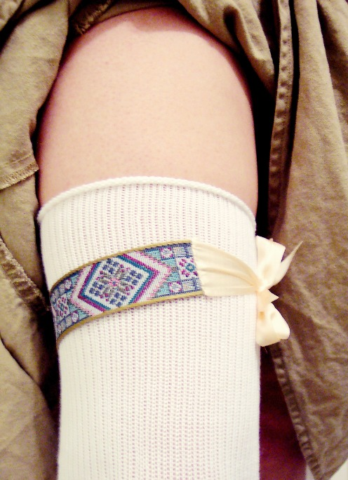 Garter holding up a woman's stocking (from The Practical Costumer)