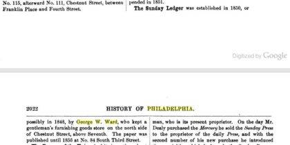 History of Philadelphia, 1609-1884 george w ward newspaper 1848