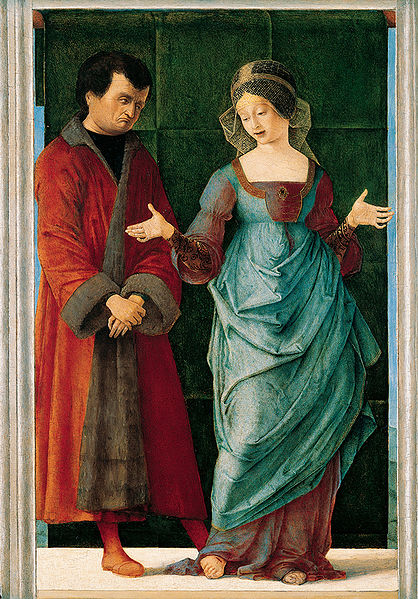 1486-90 'Portia_and_Brutus',_painting_on_panel_by_Ercole_de'_Roberti